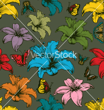 Free vintage seamless floral wallpaper vector - бесплатный vector #265907