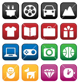 Free shopping and store icons vector - vector #266667 gratis