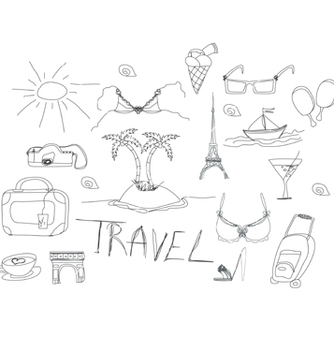 Free hand drawn travel doodles vector - Free vector #266707