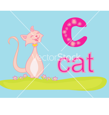 Free animal alphabet c with cat vector - Free vector #266727