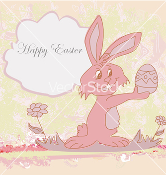 Free happy easter bunny carrying egg vector - vector gratuit #266737