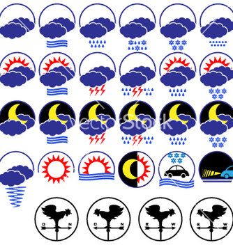 Free weather icons set vector - vector #267077 gratis