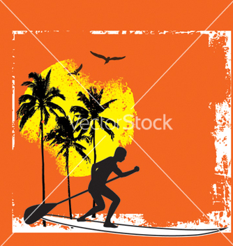 Free stand up paddle boarding vector - vector gratuit #267487