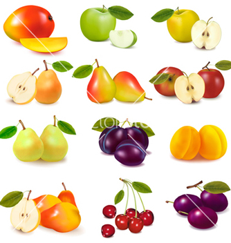 Free group with different fruits vector - бесплатный vector #267577