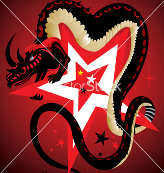 Free dragon and star vector - vector gratuit #269797