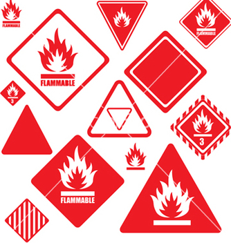 Free flammable signs vector - vector gratuit #269957
