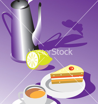 Free teatime with cake and lemon vector - vector gratuit #270127