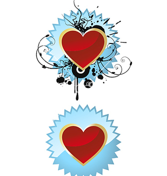 Free heart on badge vector - Free vector #270227