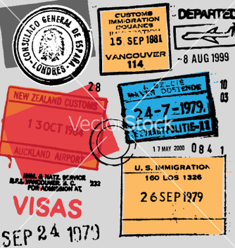 Free passport stamps vector - Free vector #270327