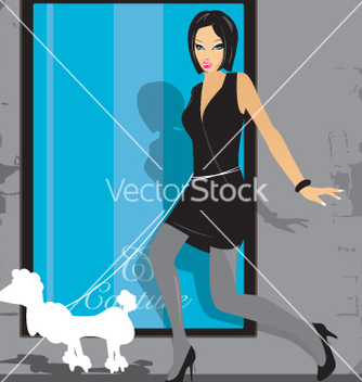 Free girl and poodle vector - Free vector #270747