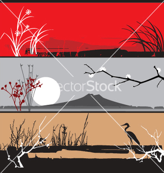 Free oriental landscape panels vector - Free vector #270907