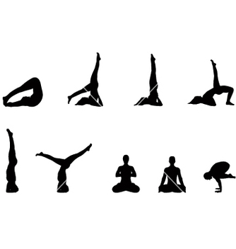 Free yoga silhouettes vector - vector gratuit #270927