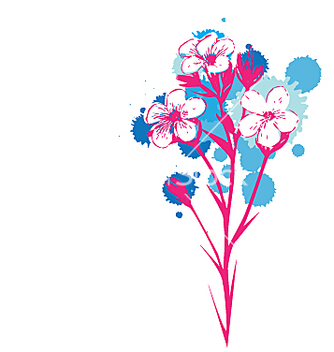 Free flowers with ink drop colours vector - Kostenloses vector #271347