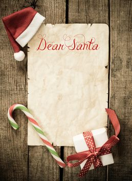 Letter to Santa and Christmas decorations over wooden background - Free image #271597