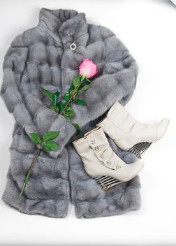 Warm fur coat, boots and rose on white background - image #272537 gratis