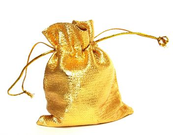 An isolated golden sack on a white background. #goyellow - image gratuit #272607
