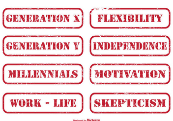 Generation X Distressed Stamp Set - Free vector #272687