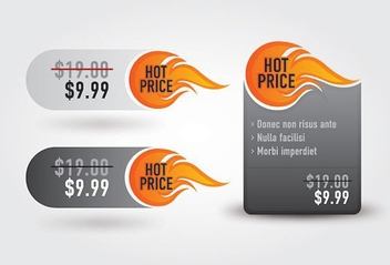 Hot Price Promotional Labels - vector gratuit #272907