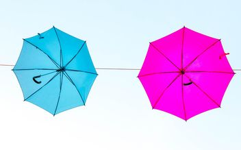 colored umbrellas hanging - image gratuit #273077