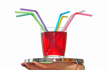 glass of juice with straws on a tray - image gratuit #273207