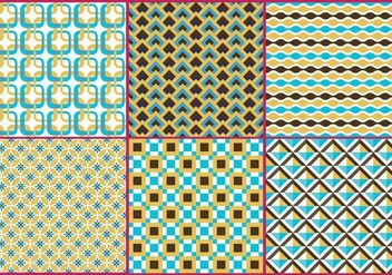 Retro Gold & Blue Patterns - vector gratuit #273267