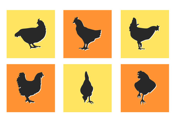 Chicken Slihouettes Vector Illustrations - vector gratuit #273357