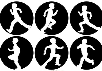Children Running Silhouette - vector gratuit #273377