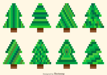 Pixel green trees - Free vector #274117