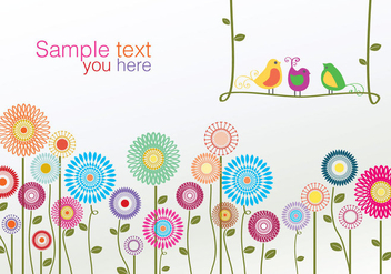 Colorful Birds and Flower Vector - Free vector #274167
