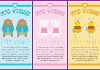 Twin Babies Invitations - vector gratuit #274177