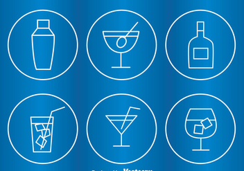 Cocktail Circle Outline Icons - Free vector #274327
