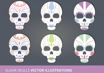 Sugar Skulls Vector Illustrations - бесплатный vector #274417
