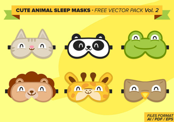 Cute Animal Sleep Masks Free Vector Pack Vol 2 - Free vector #274447