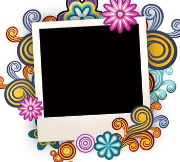Colorful Swirls Photo Frame - vector gratuit #274477