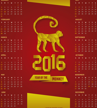2016 calendar Red and gold - Free vector #274487