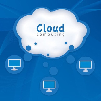 Cloud Computing Blue Background - Free vector #274527