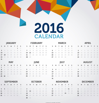 2016 clean creative calendar - Free vector #274557