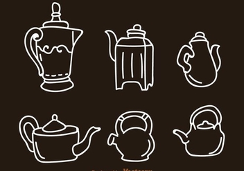 Arabic Coffee Pot And Kettle Icons - Free vector #275117