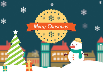 Merry Christmas Landscape Vector - Free vector #275177