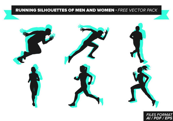 Running Silhouettes Of Men And Women Free Vector Pack - vector gratuit #275217