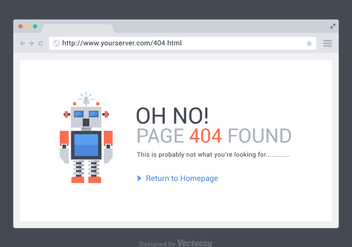 Free 404 Page Found Vector Template - бесплатный vector #275277
