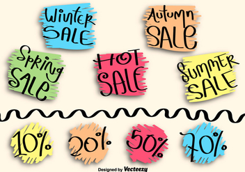 Hand drawn sale labels - Free vector #275297