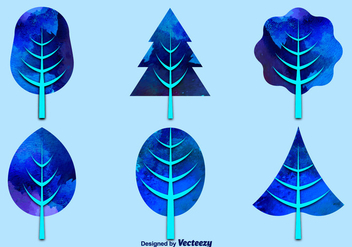 Watercolor blue trees - vector gratuit #281057