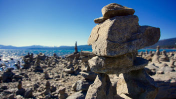 Tahoe rock formations at low tide - Free image #296387