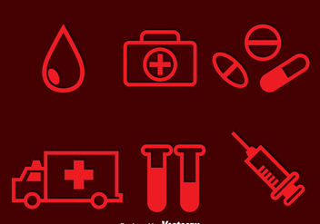 Hospital Red Icons - vector gratuit #297617