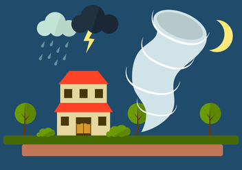Vector Illustration of Tornado at Village - бесплатный vector #297827