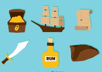 Treasure Hunter Flat Icons - бесплатный vector #297987