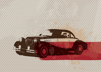 Retro Car Dotted Texture Card - vector gratuit #301847
