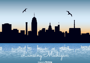 Lansing Michigan Skyline Illustration - Free vector #302157