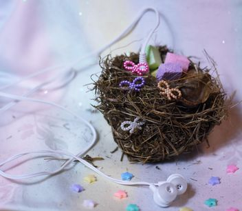 bird's nest decorated with music earphones - image gratuit #302407